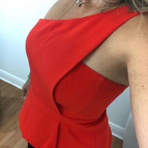 BCBG maxazaria red peplum Top